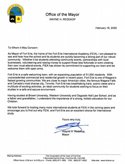 伊利堡市长的贺信